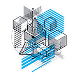 Isometric abstract background with lines and other different ele. Ments, vector abstract template. Composition of cubes, hexagons, squares, rectangles and Stock Images