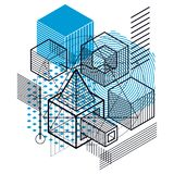 Isometric abstract background with lines and other different ele. Ments, vector abstract template. Composition of cubes, hexagons, squares, rectangles and Royalty Free Stock Image