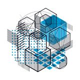Isometric abstract background with lines and other different ele. Ments, vector abstract template. Composition of cubes, hexagons, squares, rectangles and Royalty Free Stock Photography