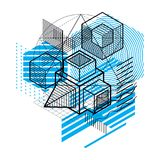 Isometric abstract background with lines and other different ele. Ments, vector abstract template. Composition of cubes, hexagons, squares, rectangles and Royalty Free Stock Photo