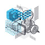 Isometric abstract background with lines and other different ele. Ments, vector abstract template. Composition of cubes, hexagons, squares, rectangles and Stock Photo