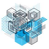 Isometric abstract background with lines and other different ele. Ments, vector abstract template. Composition of cubes, hexagons, squares, rectangles and Stock Photography
