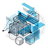 Isometric abstract background with lines and other different ele Stock Photos