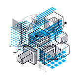 Isometric abstract background with lines and other different  Stock Photos