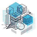Isometric abstract background with lines and other different  Stock Images