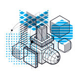 Isometric abstract background with lines and other different  Stock Image