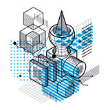 Isometric abstract background with lines and other different  Royalty Free Stock Photography