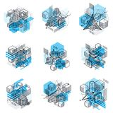 Isometric abstract backgrounds with linear dimensional shapes. Vector 3d mesh elements. Compositions of cubes, hexagons, squares, rectangles and different stock illustration