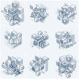 Isometric abstract backgrounds with linear dimensional shapes,. Vector 3d mesh elements. Compositions of cubes, hexagons, squares, rectangles and different royalty free illustration