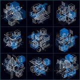 Isometric abstract backgrounds with linear dimensional shapes, v. Ector 3d mesh elements. Compositions of cubes, hexagons, squares, rectangles and different stock illustration