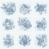 Isometric abstract backgrounds with linear dimensional shapes, v. Ector 3d mesh elements. Compositions of cubes, hexagons, squares, rectangles and different vector illustration