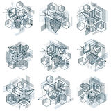 Isometric abstract backgrounds with linear dimensional shapes, v Stock Photo
