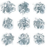 Isometric abstract backgrounds with linear dimensional shapes, v Stock Photography