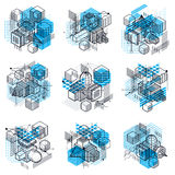 Isometric abstract backgrounds with linear dimensional shapes, v Royalty Free Stock Photography