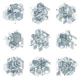 Isometric abstract backgrounds with linear dimensional shapes, v Stock Photos