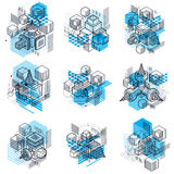 Isometric abstract backgrounds with linear dimensional shapes, v Royalty Free Stock Photos