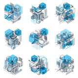 Isometric abstract backgrounds with linear dimensional shapes, v Royalty Free Stock Images
