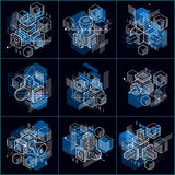 Isometric abstract backgrounds with linear dimensional shapes, v. Ector 3d mesh elements. Compositions of cubes, hexagons, squares, rectangles and different royalty free illustration