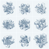 Isometric abstract backgrounds with linear dimensional shapes. Vector 3d mesh elements. Compositions of cubes, hexagons, squares, rectangles and different vector illustration