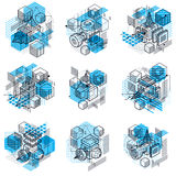 Isometric abstract backgrounds with linear dimensional shapes Stock Photography