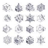 Isometric abstract black and white backgrounds set with linear d. Imensional cube shapes, vector 3d mesh elements. Layout of cubes, hexagons, squares, rectangles vector illustration