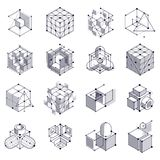 Isometric abstract black and white backgrounds set with linear d. Imensional cube shapes, vector 3d mesh elements. Layout of cubes, hexagons, squares, rectangles stock illustration