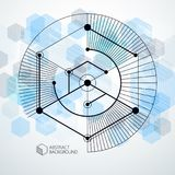 Isometric abstract blue background with linear dimensional cube. Shapes, vector 3d mesh elements. Layout of cubes, hexagons, squares, rectangles and different Stock Image