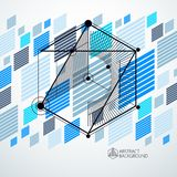Isometric abstract blue background with linear dimensional cube. Shapes, vector 3d mesh elements. Layout of cubes, hexagons, squares, rectangles and different Royalty Free Stock Images