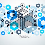 Isometric abstract blue background with linear dimensional cube. Shapes, vector 3d mesh elements. Layout of cubes, hexagons, squares, rectangles and different Stock Photography