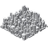 Isometric Abstract City. Ready for your Design. Stock Images