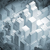 Isometric abstract 3d white cityscape illustration. Isometric abstract white cityscape with tall office buildings, square 3d illustration Stock Photography
