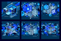 Isometric abstract dark blue backgrounds set with linear dimensional cube shapes, vector 3d mesh elements. Layout. Of cubes, hexagons, squares, rectangles and stock illustration