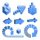 Isometric abstract geometry design elements. Royalty Free Stock Photography