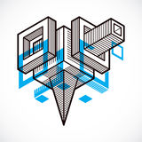 Isometric abstract vector dimensional shape, polygonal figure Stock Photo