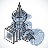 Isometric abstract vector dimensional shape, polygonal figure Royalty Free Stock Images