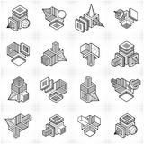Isometric abstract vector shapes set. Abstraction, special artistic shape Royalty Free Illustration