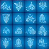 Isometric abstract vector shapes set. Royalty Free Stock Photos