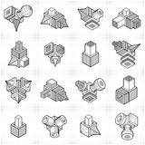 Isometric abstract vector shapes set. Stock Photo