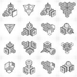 Isometric abstract vector shapes set. Royalty Free Stock Photography