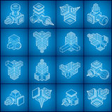 Isometric abstract vector shapes set. Stock Images