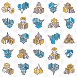 Isometric abstract vector shapes set. Stock Photography
