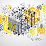 Isometric abstract yellow background with linear dimensional cub. E shapes, vector 3d mesh elements. Layout of cubes, hexagons, squares, rectangles and different Royalty Free Stock Images