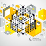 Isometric abstract yellow background with linear dimensional cub. E shapes, vector 3d mesh elements. Layout of cubes, hexagons, squares, rectangles and different Stock Image