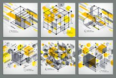 Isometric abstract yellow backgrounds set with linear dimensiona. L cube shapes, vector 3d mesh elements. Layout of cubes, hexagons, squares, rectangles and royalty free illustration