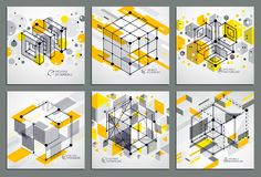 Isometric abstract yellow backgrounds set with linear dimensiona. L cube shapes, vector 3d mesh elements. Layout of cubes, hexagons, squares, rectangles and vector illustration