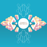 Isometric abstraction in flat style with text box on blue backgr. Pink and yellow pastel isometric abstraction in flat style with text box on blue background Royalty Free Stock Photos