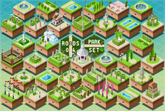Isometric Accessories for Green City Park Set Stock Photos