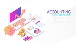 Isometric accountant workspace, 3d vector. Isometric accountant workspace elements money coins and financial stock graphs vector illustration Stock Images