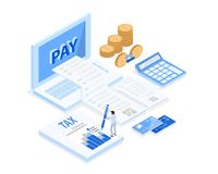Isometric accountant workspace, 3d vector Royalty Free Illustration