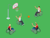 Isometric Active healthy disabled men basketball players in a wheelchair detailed sport concept illustration background. Vector Royalty Free Stock Photo